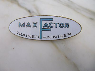 Rare Vintage  MAX FACTOR Enamel in store trained adviser pin badge
