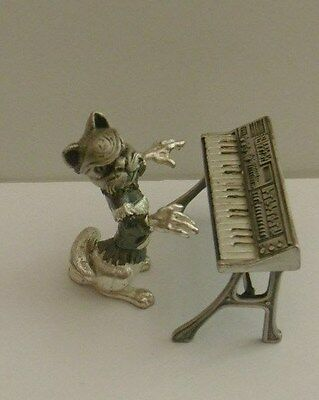 Novelty Decorated Miniature White Metal Figure Cat Musician Organ