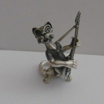 Novelty Decorated Miniature White Metal Figure Cat Musician Playing Guitar