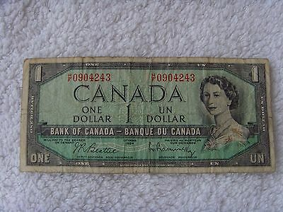 Bank of Canada $1 Banknote. Canadian 1 dollar note.