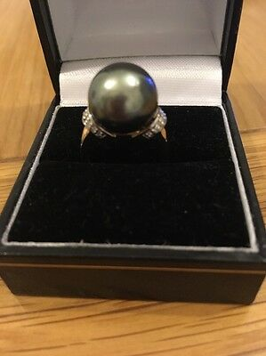 Tahitian Pearl And Diamond Gold Ring Large Pearl 12.5mm