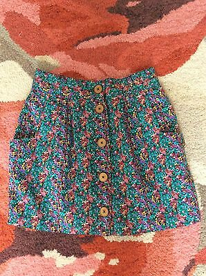 Vintage Floral Short Skirt From 'The Co-Operative' Size L Approx 14