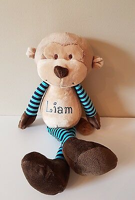 Personalised Monkey  teddy cuddly toy BLUE,ANY NAME, Unique Gift,  newborn