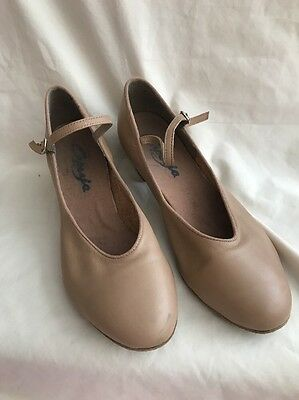 CAPEZIO Dance Character Shoes Ladies Tan Buckle Strap 9M