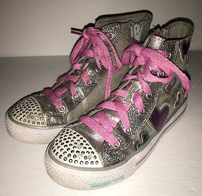 Skechers Twinkle Toes Girls Youth Size 3 silver Pink/blue Hearts High Tops