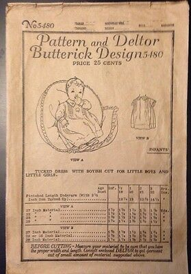 1920s Butterick Design 5480 Vintage Infant Toddler Child Dress Pattern Deltor