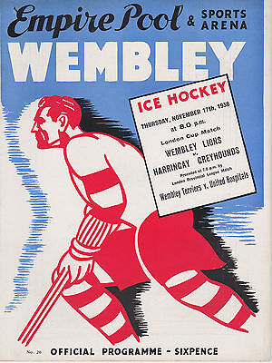 1938 WEMBLEY LIONS v HARRINGAY GREYHOUNDS PROGRAMME (17/11/38)