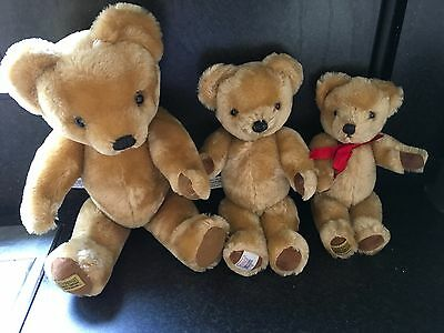 """Vintage  Large Merrythought Mohair Teddy Bears x 3   Moving Joints  18"""" 14"""" 11"""""""