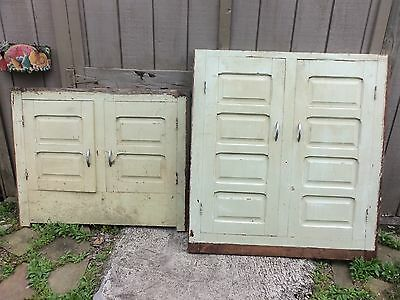 "2 peice antique raised panel cupboard doors 84"" total height"