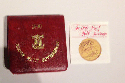 1980 Gold Proof Half Sovereign Box, COA and Royal Mint . RED BOX