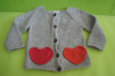 Htf * Oeuf Heart Cardigan Sweater * 6M * Pristine Condition * Super Soft