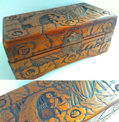 ANTIQUE vintage Carved WOODEN JEWELLERY BOX, storage box, arts and crafts box