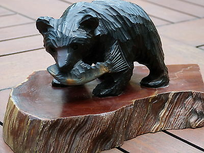 Carved wood ornament of bear Californian Redwood