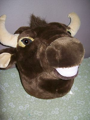 Life Size Mooing Brown Cow Plush Head