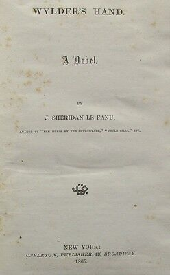 Rare First Edition of Wylder's Hand by Sheridan Le Fanu 1865