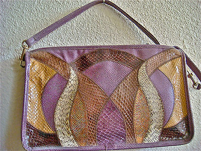 Purple Leather Snake Skin Purse