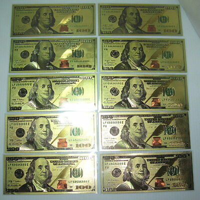 GOLD US $100 Bill's (10) NEW 2009 Style 24 Kt Gold Foil Fun HOT Gift! FREE SHIP!