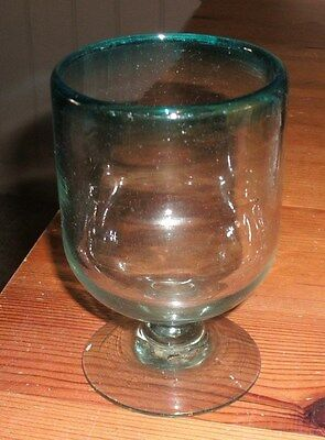 Victorian Rummer Glass With Blue Rim