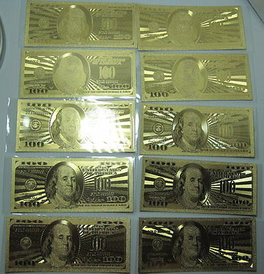 24K GOLD plated US 100 Dollar Bill 10 Pack FREE Florida Shipping! Beautiful Bill