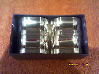 Four Silver Plated Napkin Rings By Elite Of Birmingham-Boxed