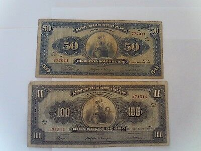 2 Banknotes from Peru,