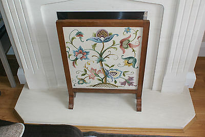 Hand Embroidered Tapestry set into a Fireplace Decorative Guard/ Screen/ Cover