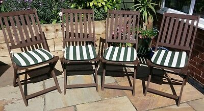 set of 4 hardwood garden chairs with cushions