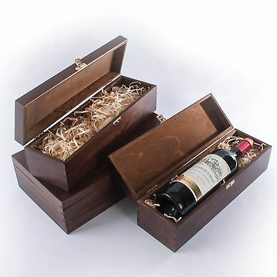 Wine Box with Wood Wool/ 1 or 2 Bottles Brown Lacquer Wooden Gift Case Holder