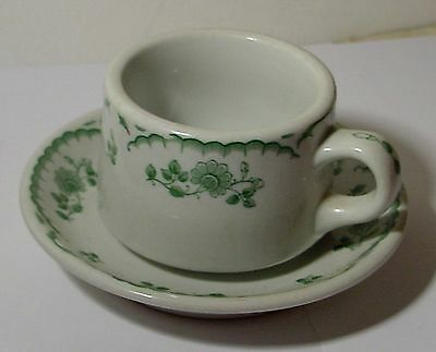 1950 Chardon Rose Cup & Saucer Shenango Green Glaze Restaurant China