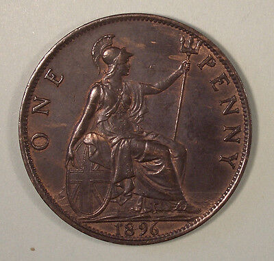 1896 Victoria  bronze Penny,nice toning,traces of lustre