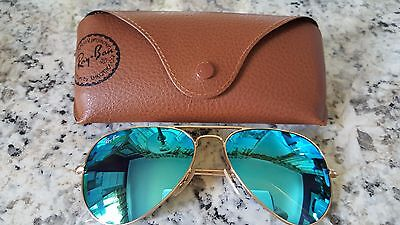 Ray Ban Aviator Style Gold Frame Blue Mirror Lens Rb3025 58Mm
