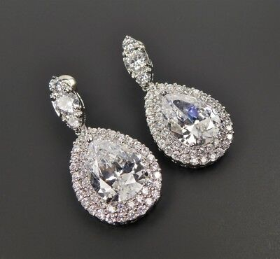 Shiny Silver Tone Rhodium Plated Cubic Zirconia Classic Large Pear Drop Earrings