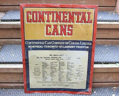 Vintage Continental Cans Tin Metal Sign Oil Can Gas Can Fruit Montreal Toronto