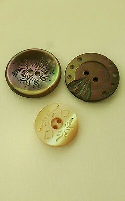 3 19th C.VIC. BEAUTIFULLY CARVED LARGE DEEP  MOTHER OF PEARL BUTTONS.