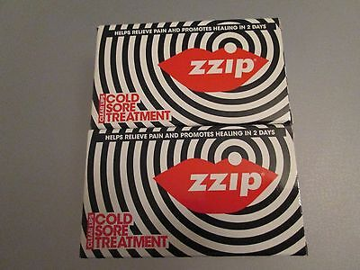2 PACKS OF Zzip Cold Sore Treatment Transparent Pain Relief NEW + BOXED