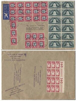 South Africa airmail large stamp blocks to US, 9/5/1969.a25