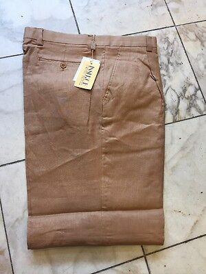 Nwt Inserch  Pleated 100% Linen Camel Pants Mens Size 36