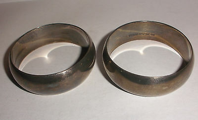 pair of nice antique circa 1930`s sterling silver napkin rings