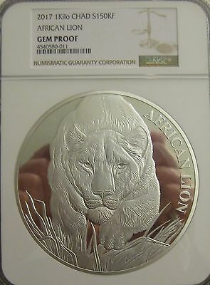 2017 Chad 150k Franc Kilo Silver African Lion - NGC Gem Proof - Mintage just 100