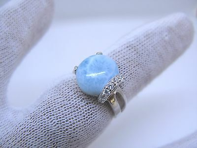 Larimar Premium 100% Natural 10X12mm Oval 925 Sterling Silver Ring Size 7 NEW