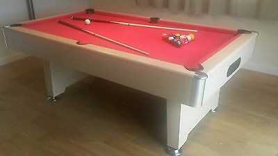 7ft Oak Effect Slate Bed Pool Table, Red Cloth Just £595 **IN STOCK**