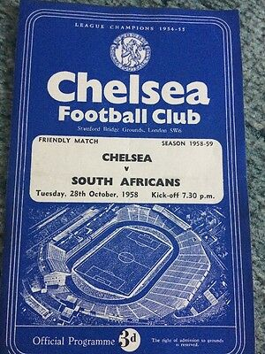 CHELSEA v South Africa (RARE 4 page Friendly) 1958