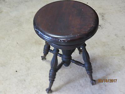 Antique Victorian claw foot piano stool, Chas Parker C