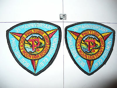 2- 1973 Philmont 35th Ann Philturn Patches,pps,TRQ,BSA Scout Ranch,New Mexico,NM