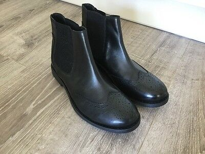 Frank Wright Black Leather Brogue Chelsea Boots  - New - Size UK 8 Eur 42