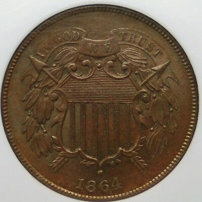 1864 Large Motto 2 Cent Piece, NGC, MS-64 BN , Shipping Combined (More at Store)