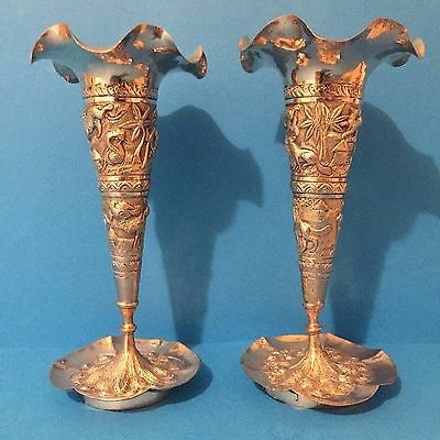 Unusual Large Indian Silver Vases c1900