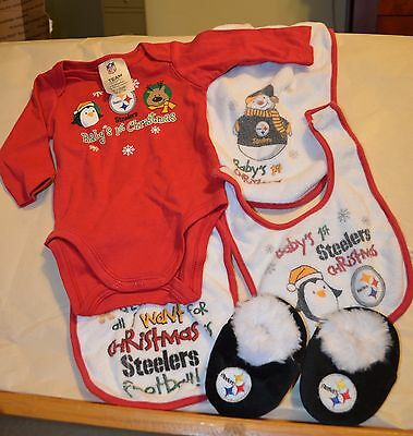 Pittsburgh Steelers Baby Clothing, One pc, bib, slippers, Newborn Infant 3 month