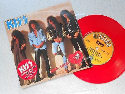 "Kiss - Hide Your Heart/betrayed 7"" Red Vinyl Picture Sleeve"