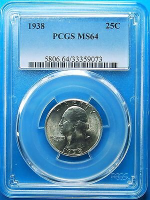 1938 Washington Quarter, PCGS, MS-64 , Shipping Combined (More at Store)
